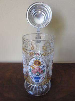 Crystal West Germany Beer Stein with Pewter Lid