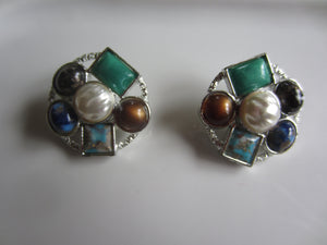 Sarah Coventry Multi-Stone Clip on Earrings