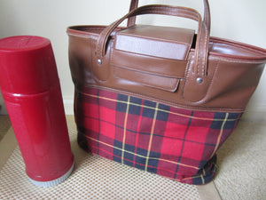 Vintage Thermos Set with Plaid Carry Bag