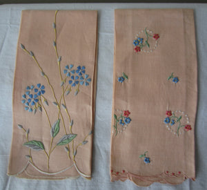 Vintage Peach Color Embroidered Napkins