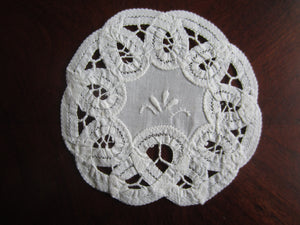 Set of Vintage White Cotton Coasters