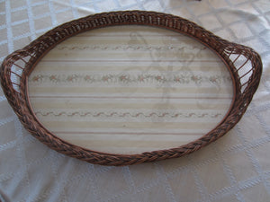 Vintage Rattan Wicker Serving Tray