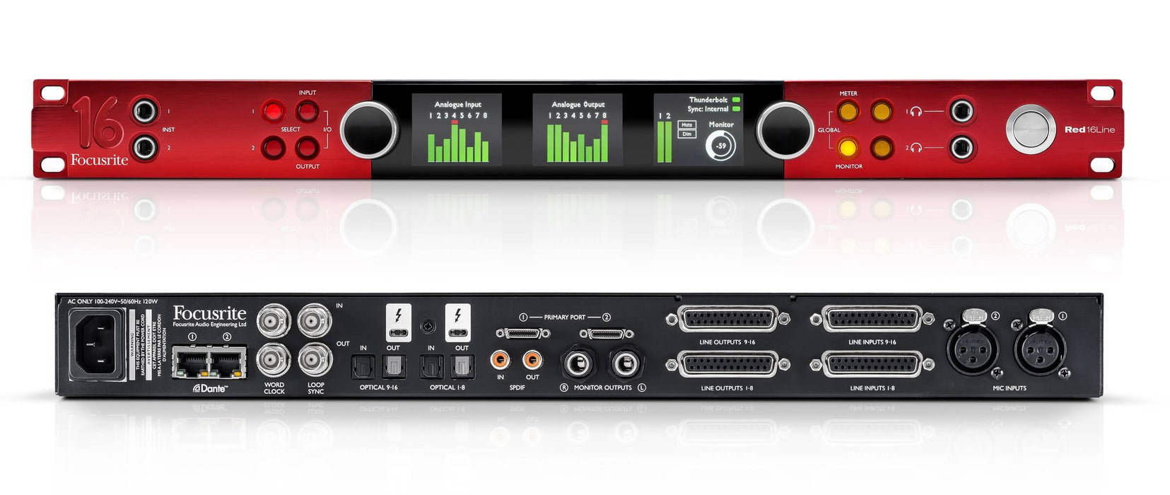 RED 16LINE - INTERFAZ DANTE 64x64 COMPATIBLE CON PRO TOOLS | HD Y THUNDERBOLT 3