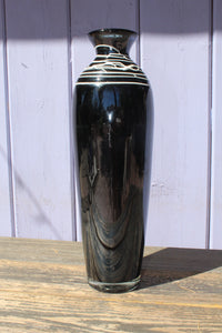 Large black and white glass vase