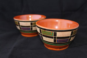 Enameled clay bowls