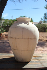 Large clay white vase