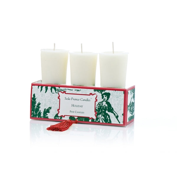 Holiday Classic Toile Votive Set of Three - Charlie James & Company