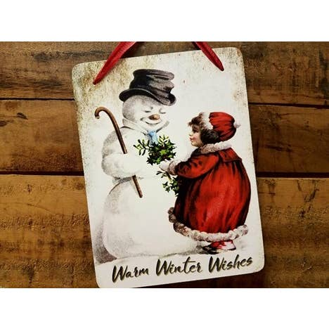 Warm Winter Wishes Vintage Sign
