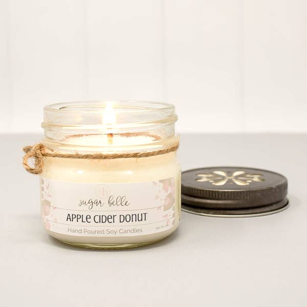Apple Cider Donut Mason Jar Soy Candle 4oz