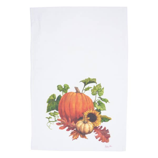 Chalk Pumpkin Harvest Dishtowel