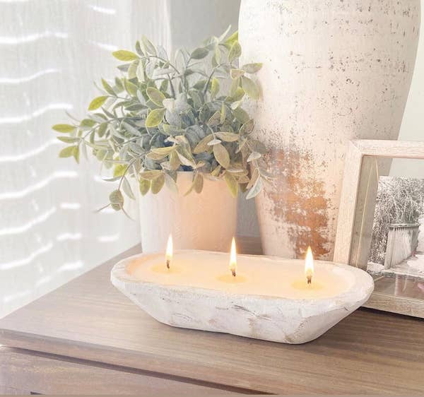 Dough Bowl Candle (Distressed White) - Aspen Leaves