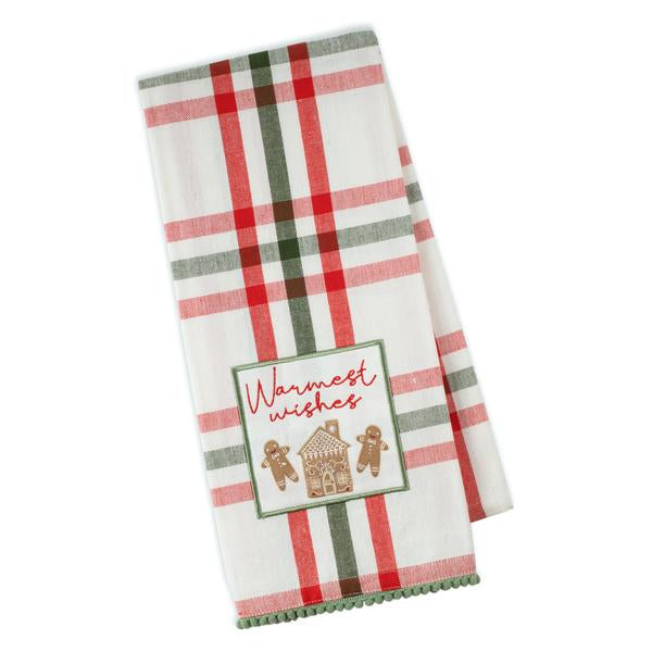 Warm Gingerbread Embellished Dishtowel