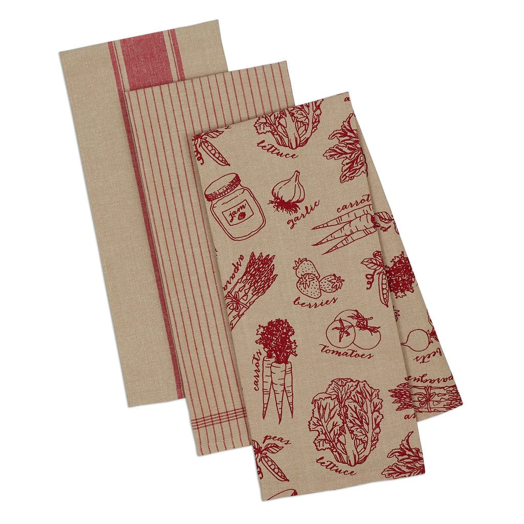 French Red Market Dishtowel Set of 3 - Charlie James & Company