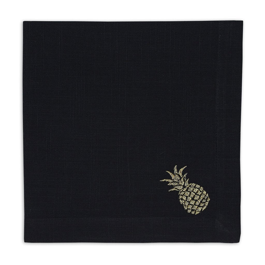 Black & Gold Pineapple Embroidered Napkin Set of 4 - Charlie James & Company