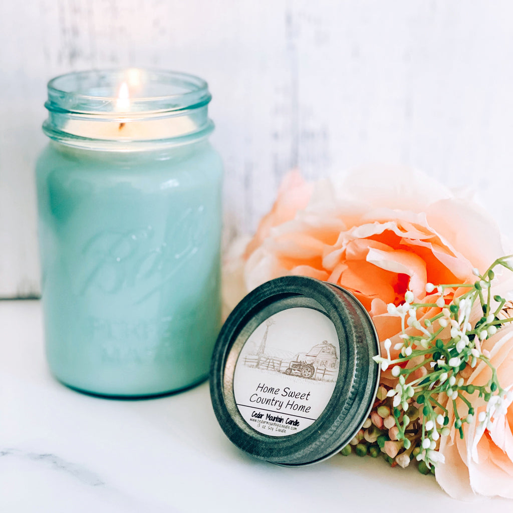 Home Sweet Country Home Vintage Aqua Mason Jar Candle