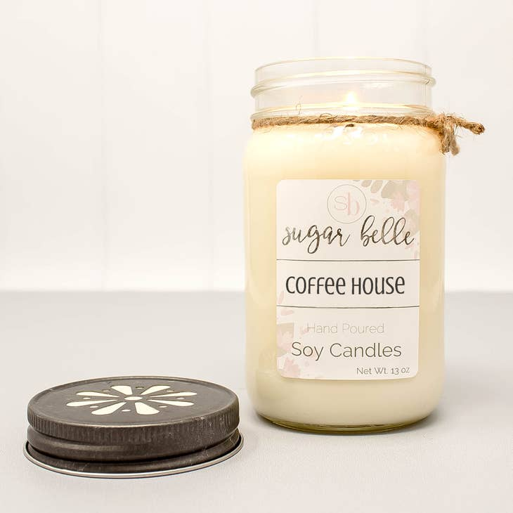 Coffee House Mason Jar Soy Candle 16 oz