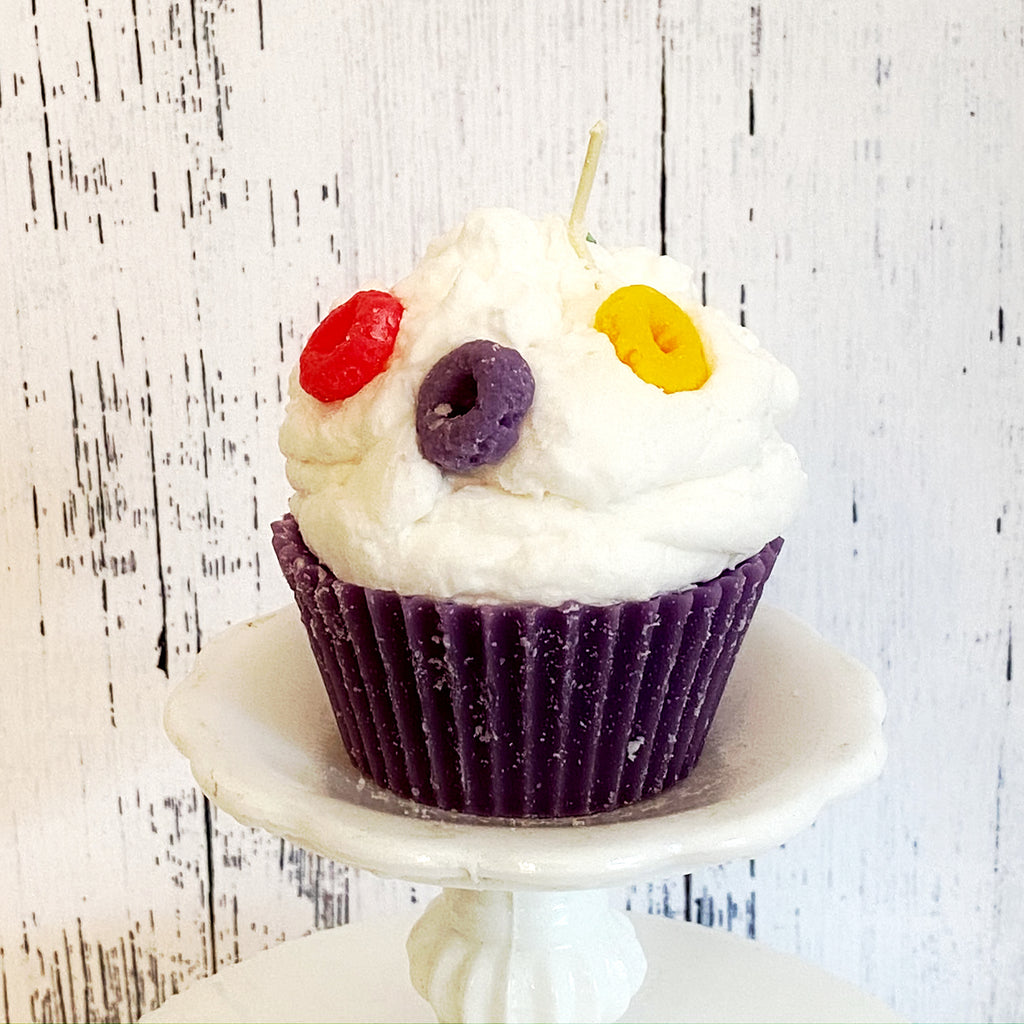 Fruit Loops Cupcake Candle