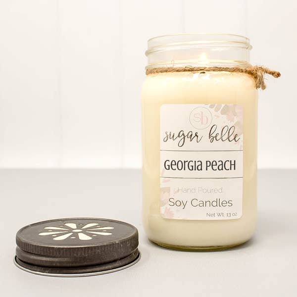 Georgia Peaches Mason Jar Soy Candle 16 oz