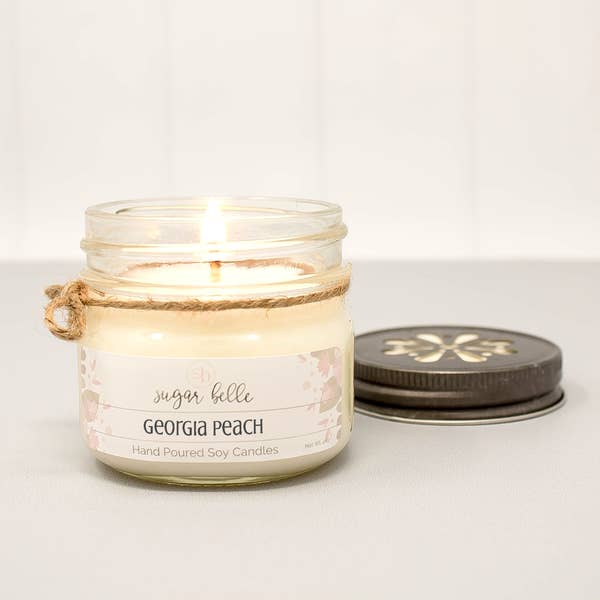 Georgia Peach Mason Jar Soy Candle 4oz