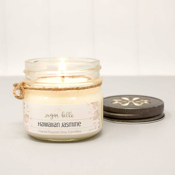 Hawaiian Jasmine Mason Jar Soy Candle 4oz