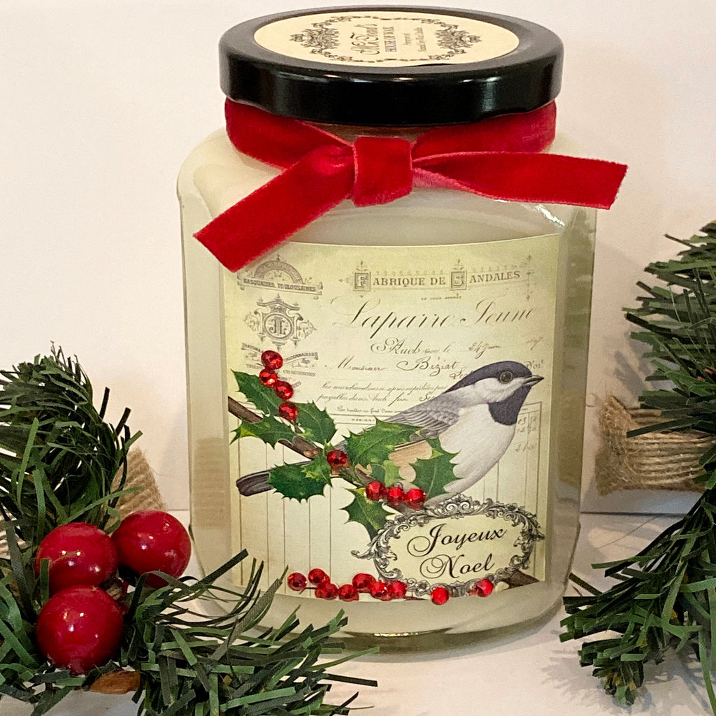 Joyeaux Noel Bird Candle in Creamy Egg Nog