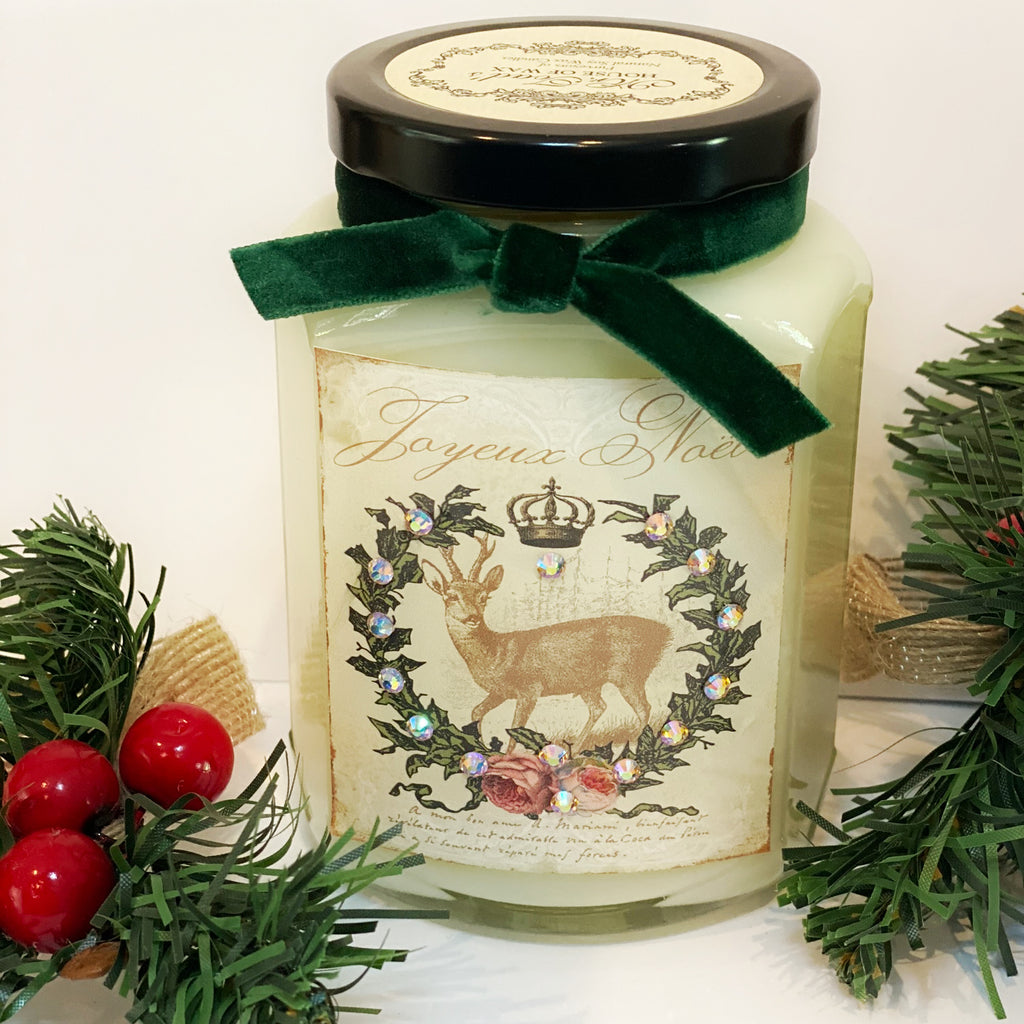 Reindeer Wreath Candle in Candy Cane Lane