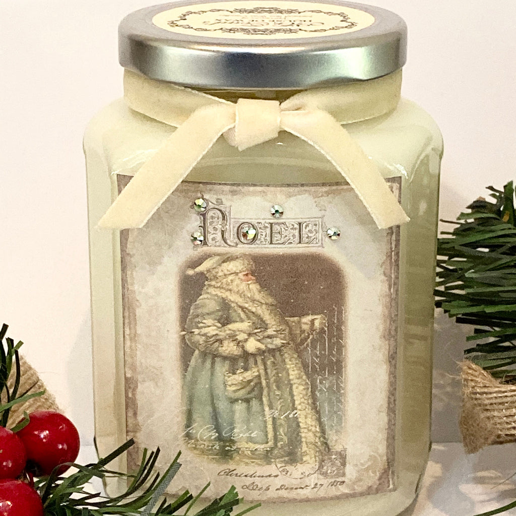 Noel Santa Vintage Candle in Candy Cane Lane
