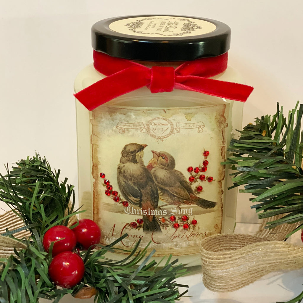 Christmas Song Birds Candle in Streudel Spice Cake