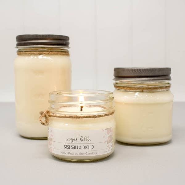Sea Salt & Orchid Mason Jar Soy Candle 16 oz