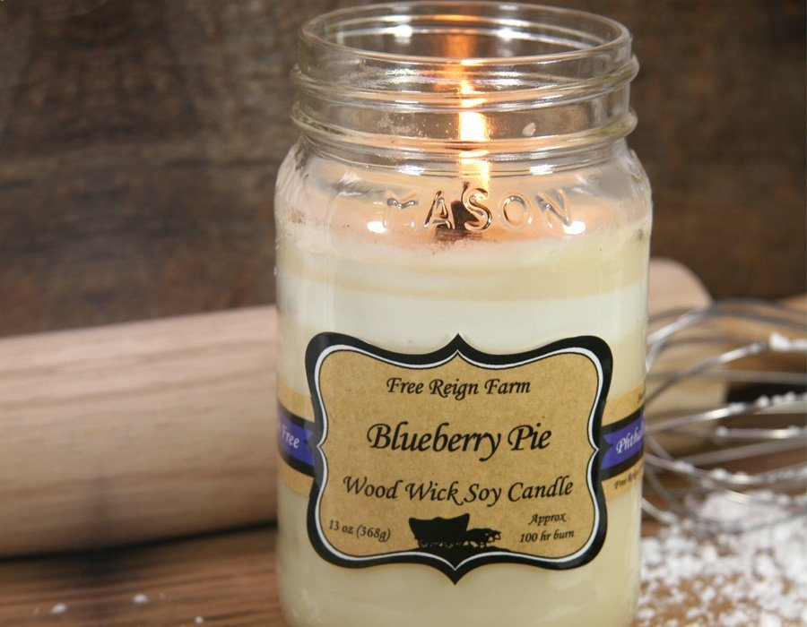 Blueberry Pie Wood & Cotton Wick Candle