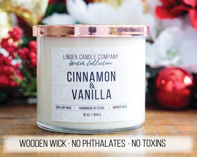 Cinnamon and Vanilla Wood Wick Candle