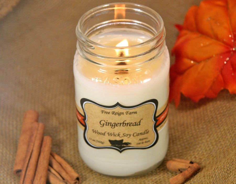 Gingerbread Wood & Cotton Wick Candle