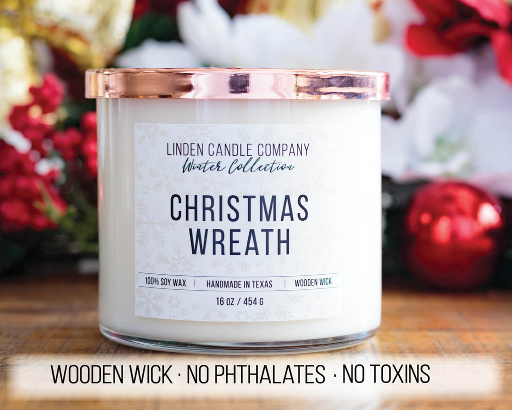 Christmas Wreath Wooden Wick Candle