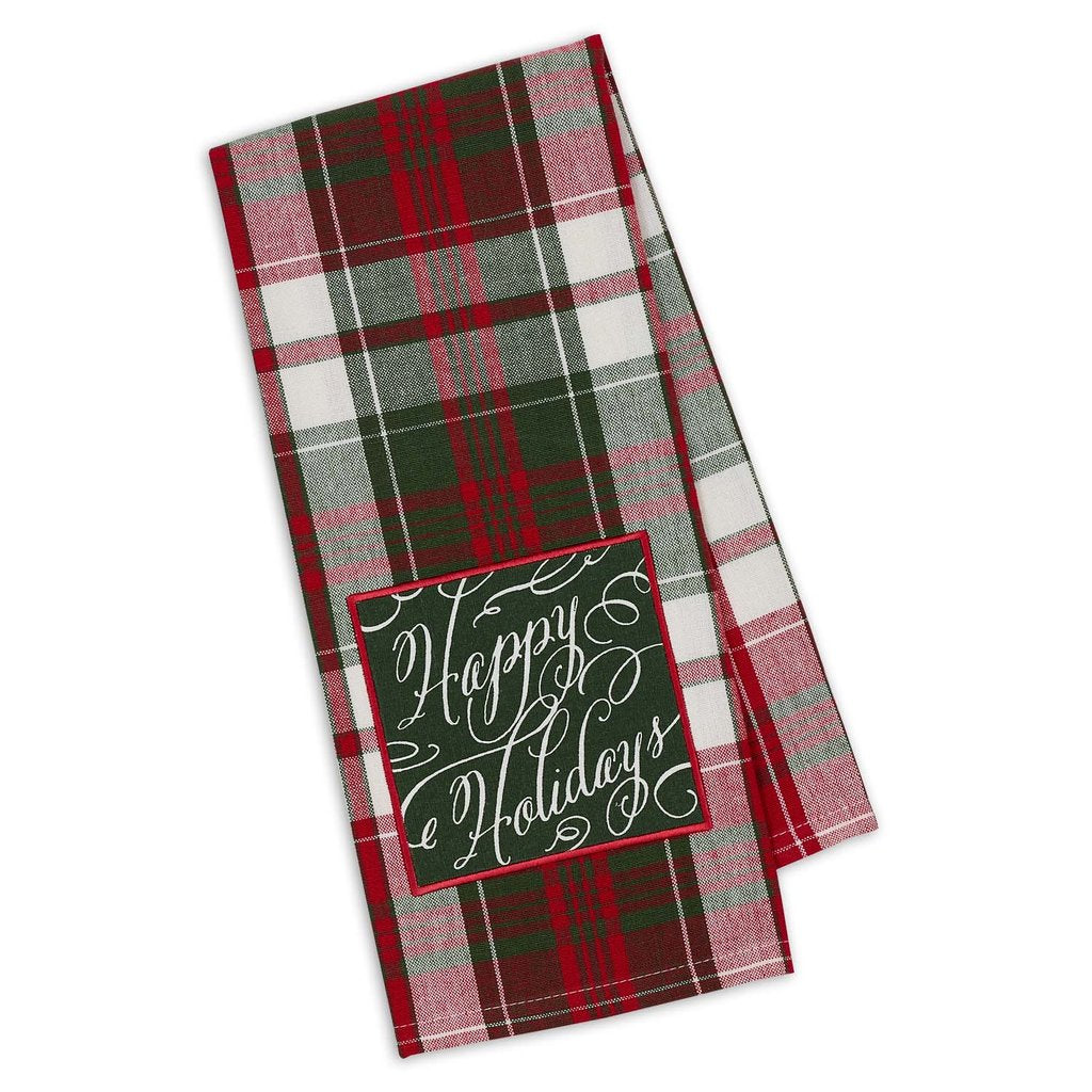 Happy Holidays Script Embellished Dishtowel - Charlie James & Company