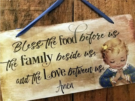 Bless this Food Before Us Vintage Sign