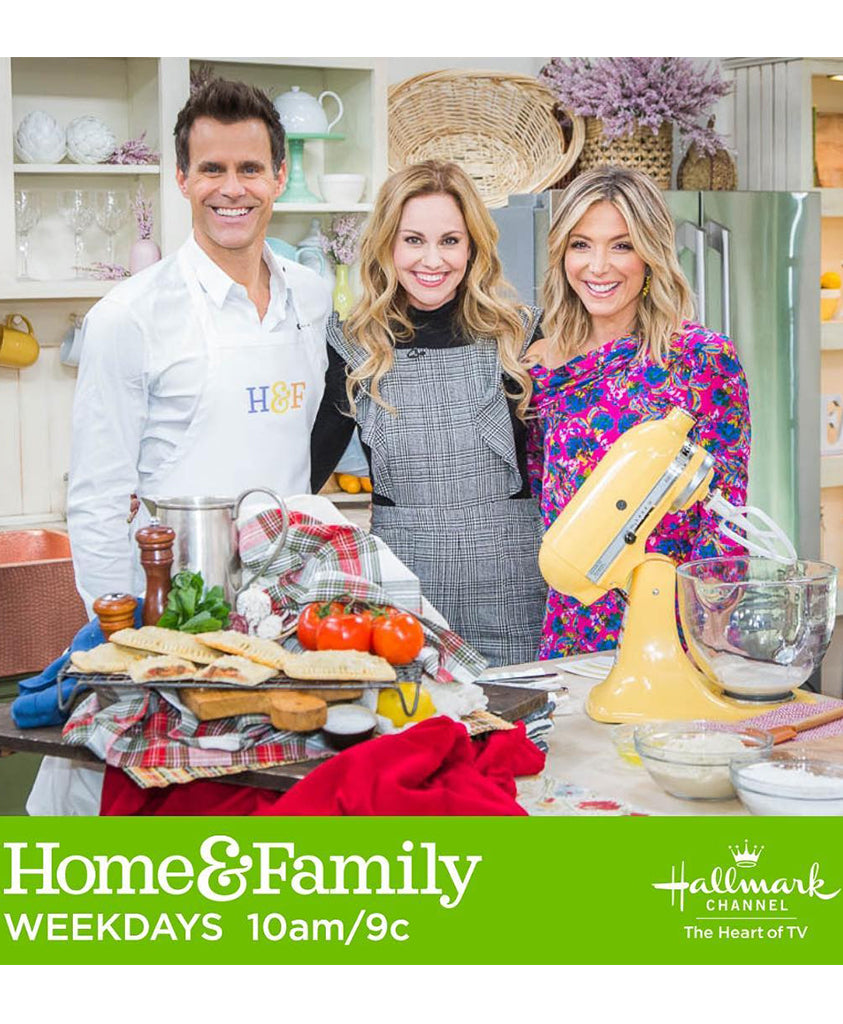 Debbie Matenopolous via Home & Family TV wearing our Gardens in Provence Long Mimosa Earrings