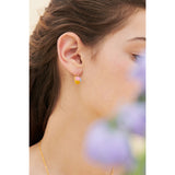 Peony and Faceted Glass Stone Clip-on Earrings