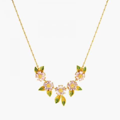Foliage and Heart Flower Petals Statement Necklace