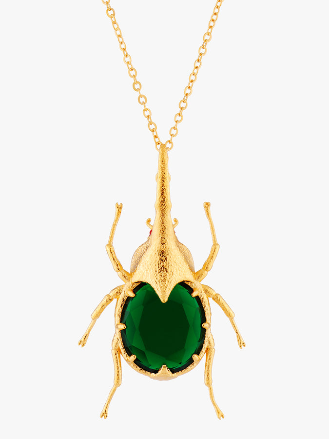 Pearly Flight Beetle Pendant Necklace