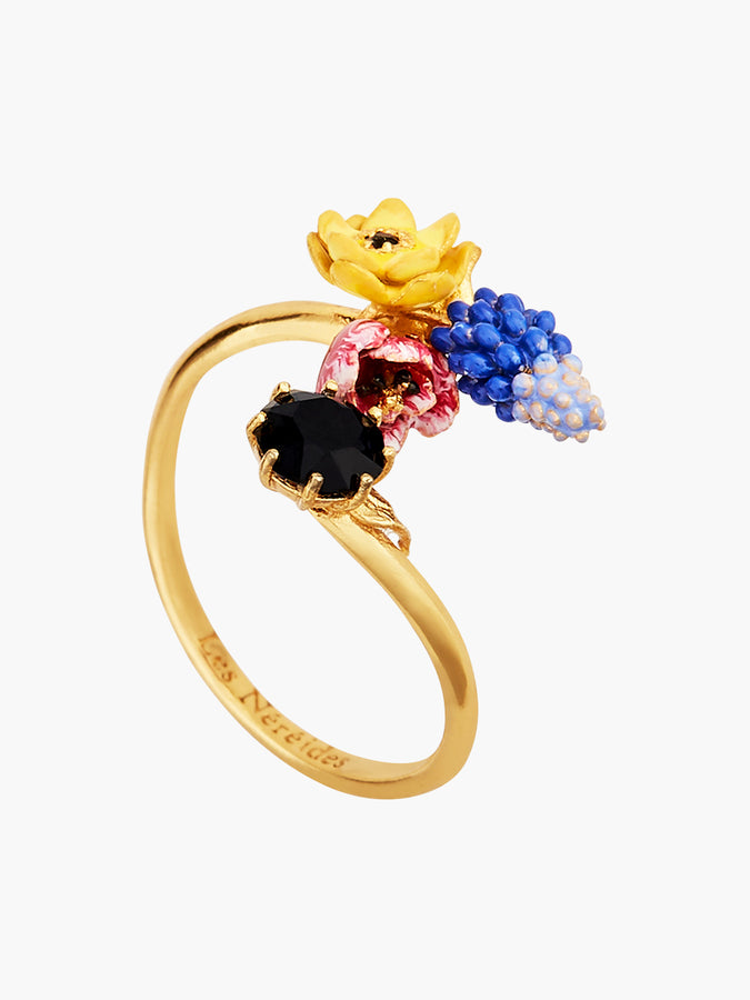 Winter Bouquet Winter Blooming Bouquet on a Black Stone Adjustable Ring