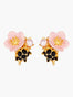 Miraculous Harvest Pink Flower and Dewdrop Clip-on Earrings