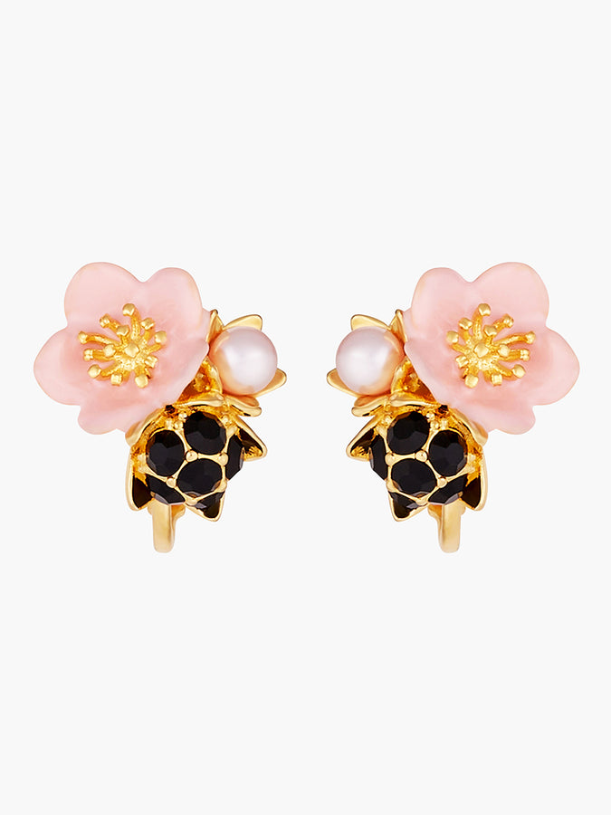 Pink Flower and Dewdrop Clip-on Earrings