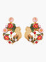 Sweet As A Rose Rose Bush on Trellis Clip-on Earrings