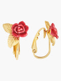 Sweet As A Rose Rose Bud and Golden Leaves Clip-on Earrings