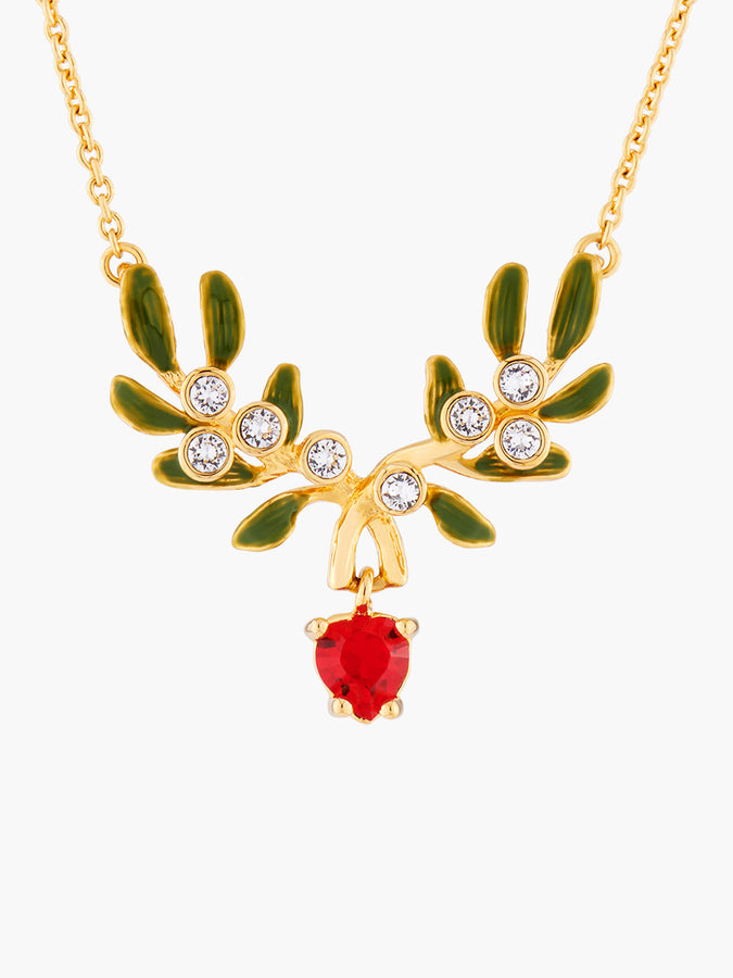 Sparkling New Year's Eve Heart Mistletoe Thin Necklace