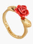 Sweet As A Rose Rose Bud and Golden Leaves Cocktail Ring - Red