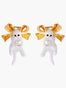 Les Néréides Loves Animals Kitty and Bow Clip-on Earrings