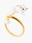 Les Néréides Loves Animals Kitty and Pearl Adjustable Ring