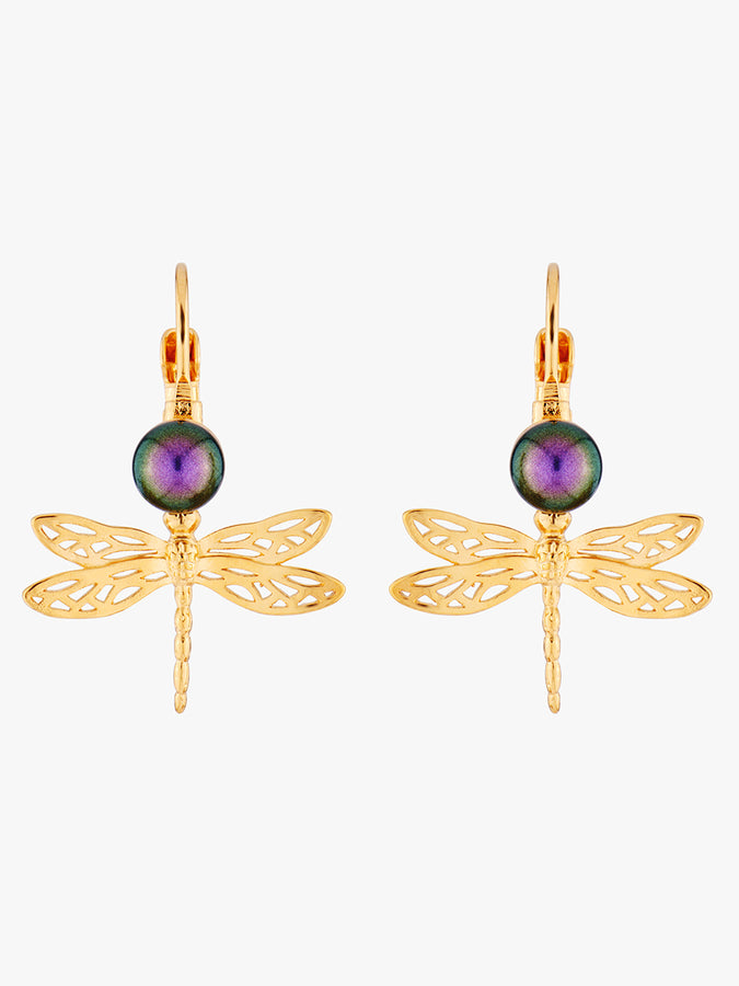 Pearly Flight Small Dragonfly Dormeuses Earrings