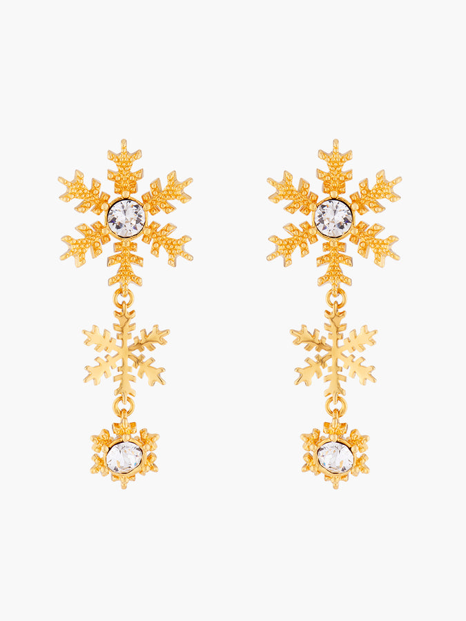 Sparkling New Year's Eve Golden Snowflakes Stud Earrings